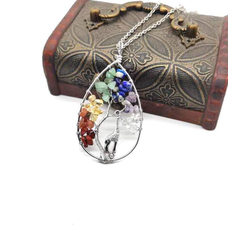 Natural Gravel Stone Tree Life Giraffe Owl Moon Chakra Life Jade Pendant Hawaiian Sea Shell Necklace Jewelry