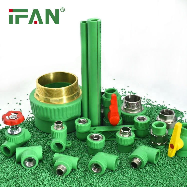 China Supplier IFAN Green Color PPR Pipe Fitting PP Tube Plumbing Materials Plastic Bibcock Fittings Water Pipe