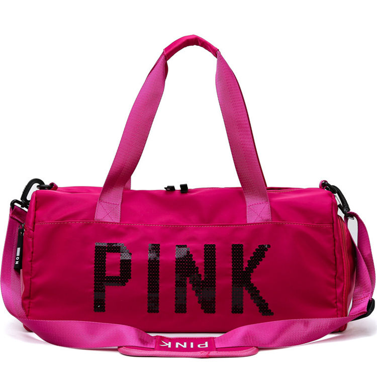 China 2020 new products Customized High Grade Weekend Travel Bag 600D Polyester pink duffle bag