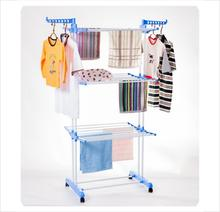 BS-8031B  multipurpose metal cloth hanger rack with wheels easy move layers  foldable and duty  baby clothes hanger
