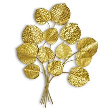 IVY Luxury Metal Tree Wall Sculpture Leaf Gold Leaves Wall Art for Home Decor