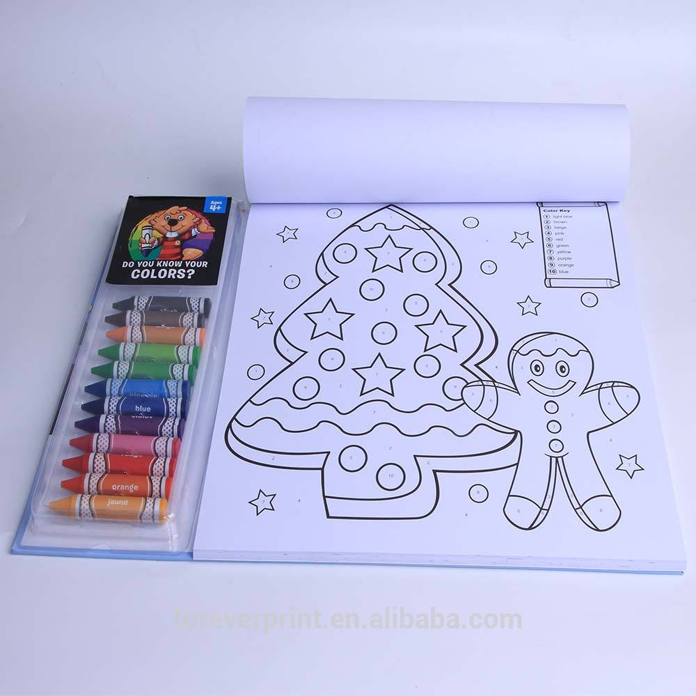 High quality Custom size kids coloring book with crayons