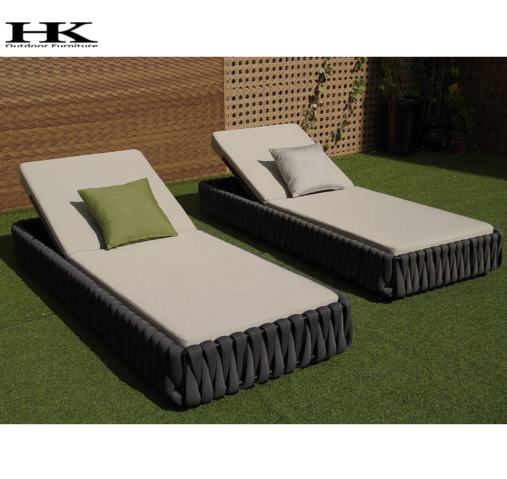 high quality garden lounger Swimming pool sun bed rope woven outdoor sun lounge
