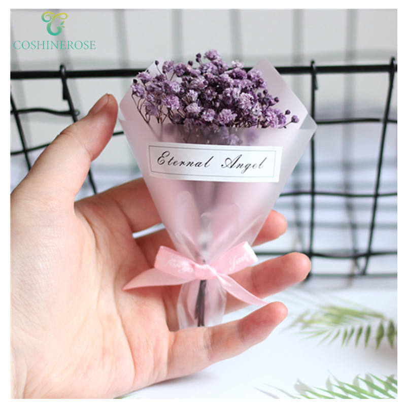 High quality artificial respiration bouquet blue flowers dry babysbreath family party desktop small gift box