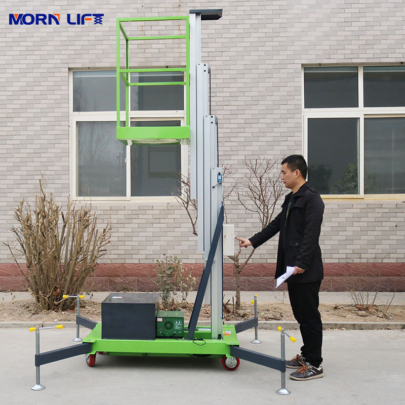 Mobile push around personal lift vertical mast single man lift
