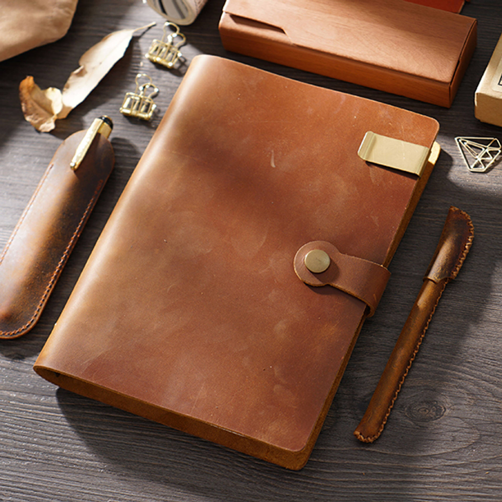Vintage Style Real Leather Notebook Hervulbare Echt 6 Ring Lederen Journal <span class=keywords><strong>Bindmiddel</strong></span>