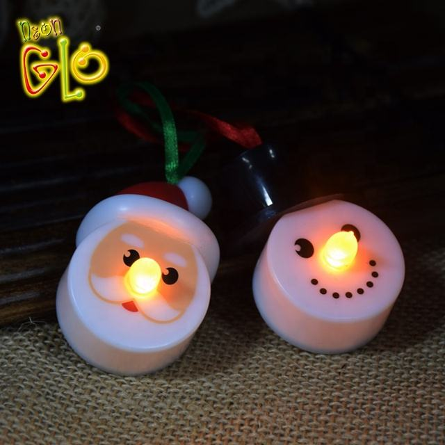 Di natale di favore giallo flickering LED mini tealight candele in babbo natale e pupazzo di neve disegni