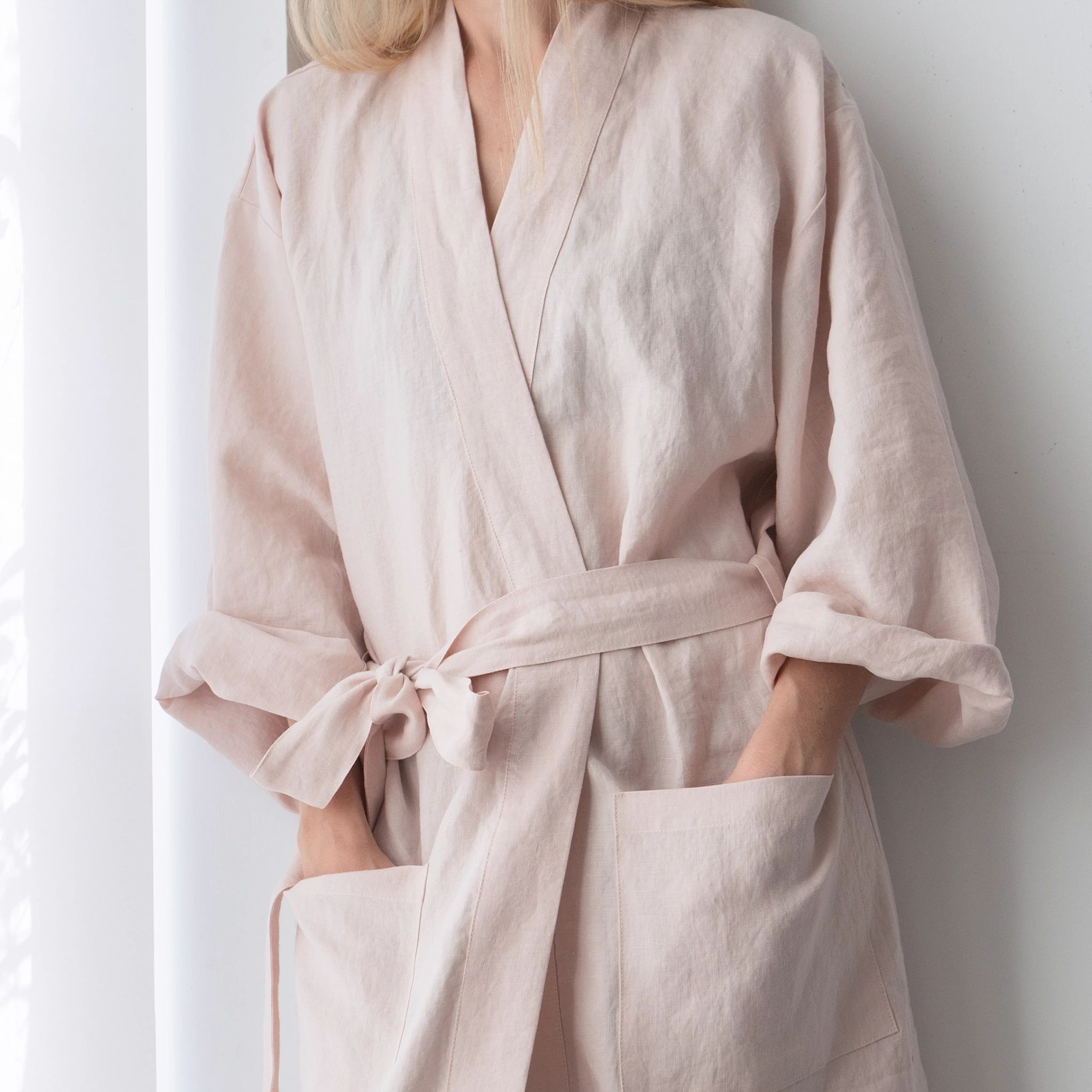 Washed soft linen kimono robes one size