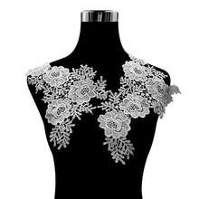 Lace Fabric Neckline Black Beautiful Flower Rose Lace Collar Applique Trim