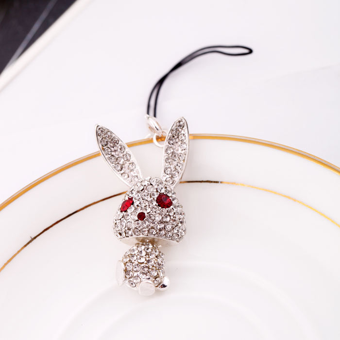 ts0018 Lovely Cute Crystal Bunny Rabbit Ladies Purse Cellphone Charm Pendants Fashion Jewelry