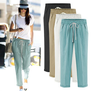 Hot Sale Cotton Linen Plus Size Thin Casual Five Points Pants Nine Points Women Trousers