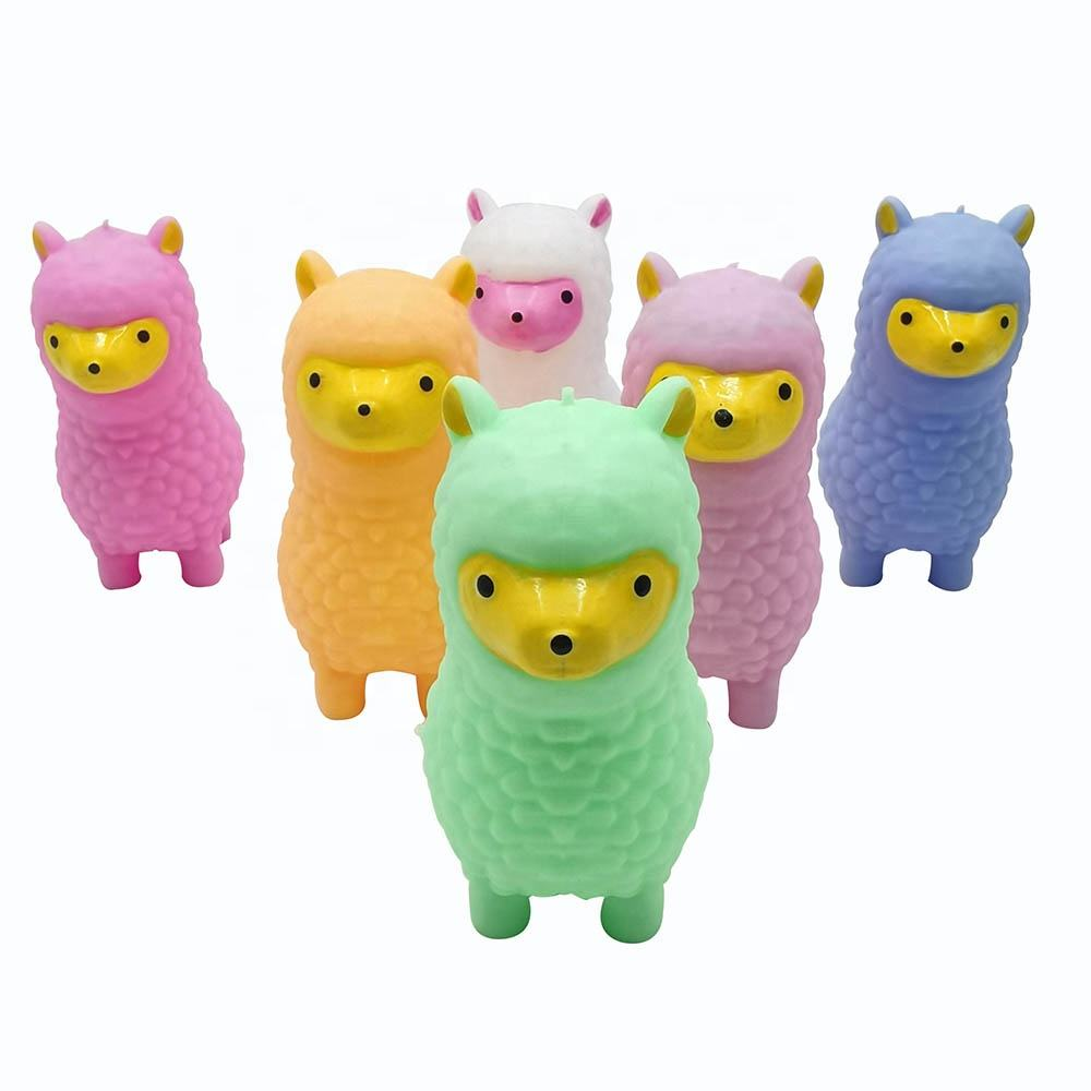 New Tpr Eco-friendly Anti Stress Puffer Ball Lovely Alpaca Animal Led Flashing Toy For Children Kids
