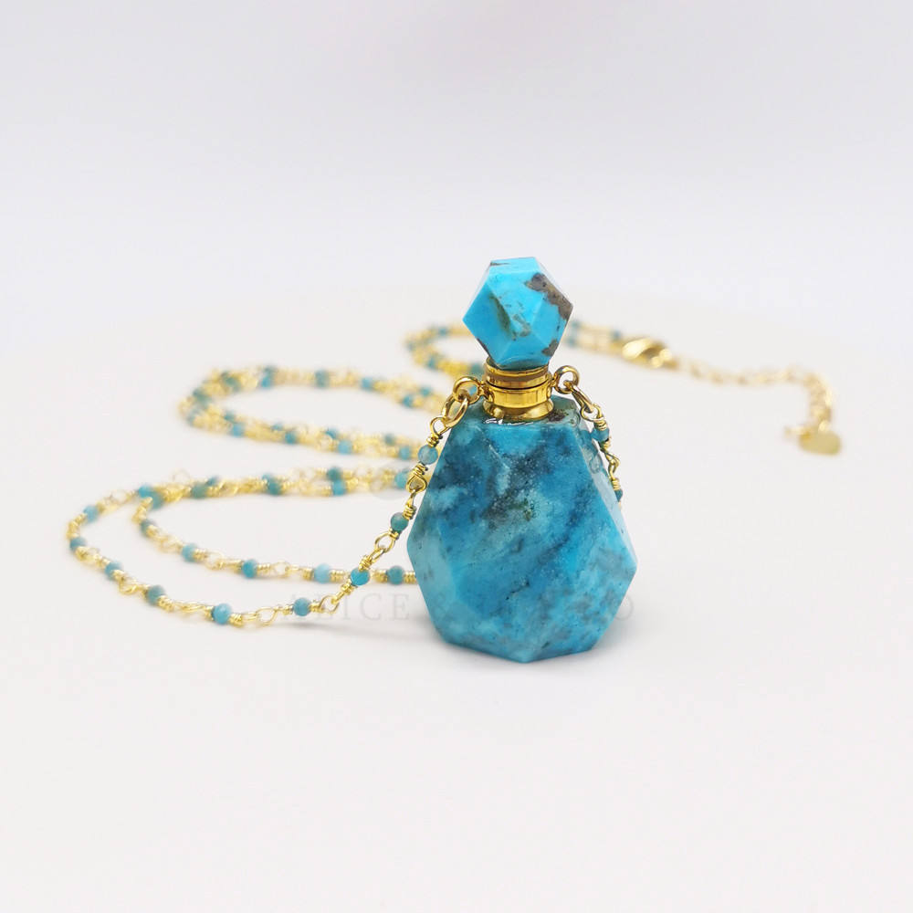 PB010R 2020 women Turquoise Rosary gemstone essential oil perfume bottle diffuser necklace
