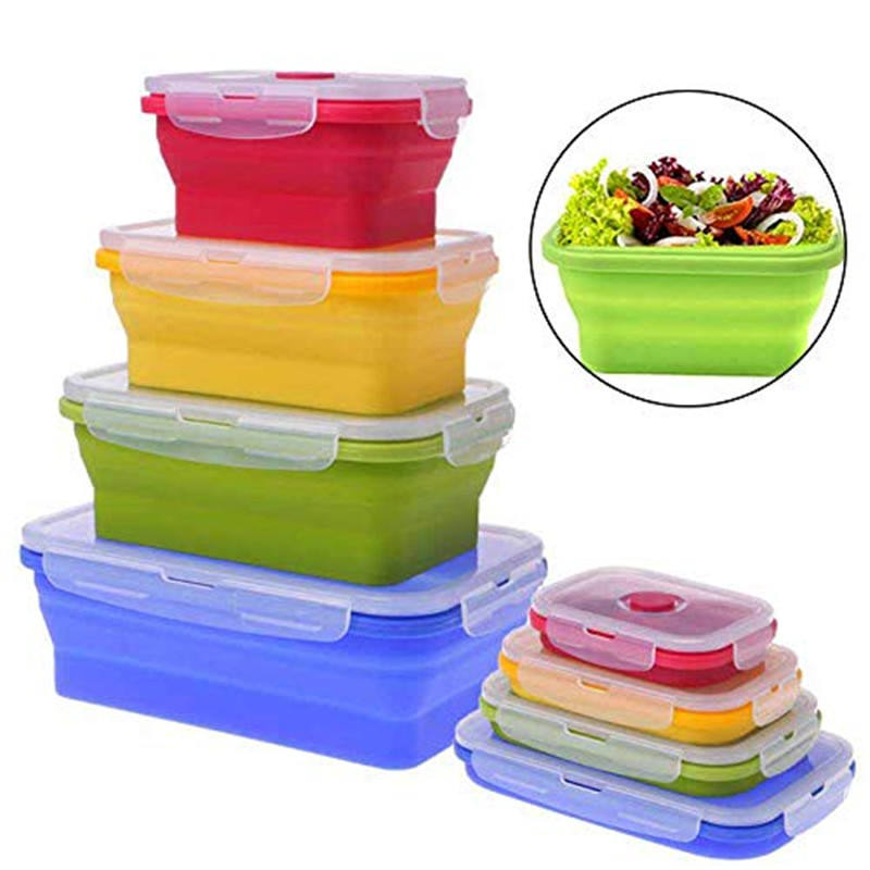 4 Pack Kids School Collapsible Food Containers Foldable Silicone Storage Bins Lunch Box