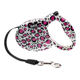 Small Size Retractable Dog Leash With White Leopard Print