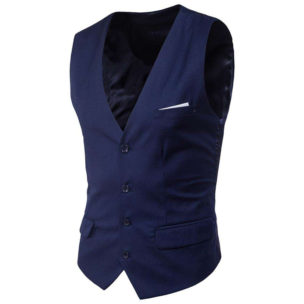 Solid Color Woven Business Men Vest