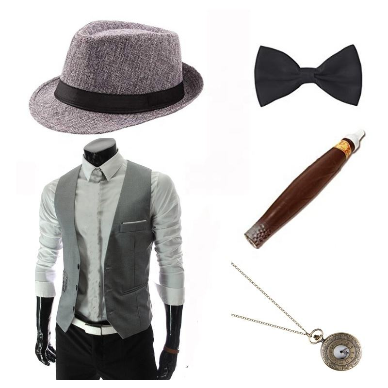 Roaring 20/'s White Pinstripe Gangster Mob Cotton Fedora Hat Costume Accessory