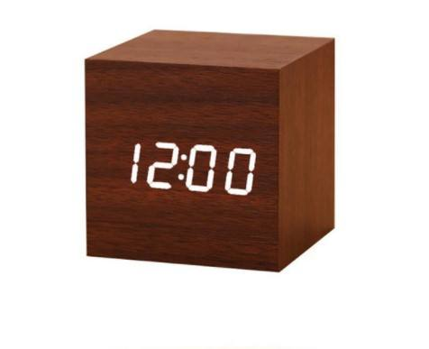 Mini Wood Sounds Control Clock New Modern Wood Digital LED Desk Alarm Clock Bedside Table Clock Calendar Table Decor