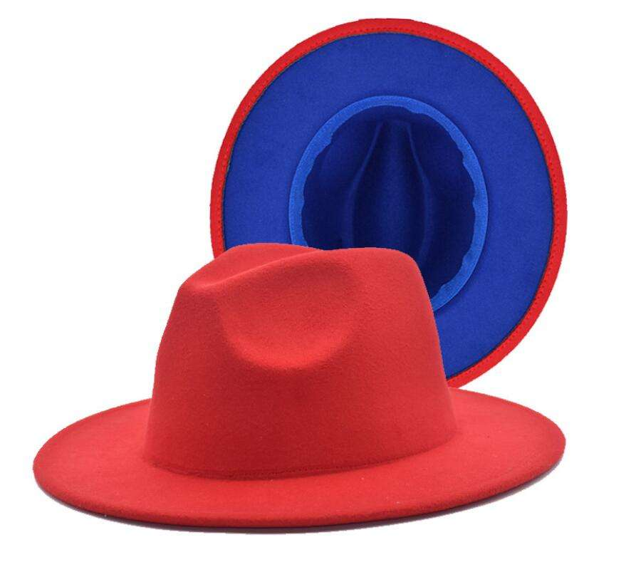 TWO TONE Wool Felt Fedora Hats Vintage Fashion Women Jazz Panama Hat