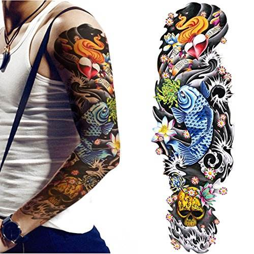 Arm Temporary Tattoo Sleeves for Women Men Body Stickers Hand Leg Shoulder Large Realistic Tattoo Flower Skull Koi Removable