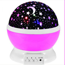 Factory Batteries Powered LED Decoration Night Lights Rotating Moon Star night sky Projector