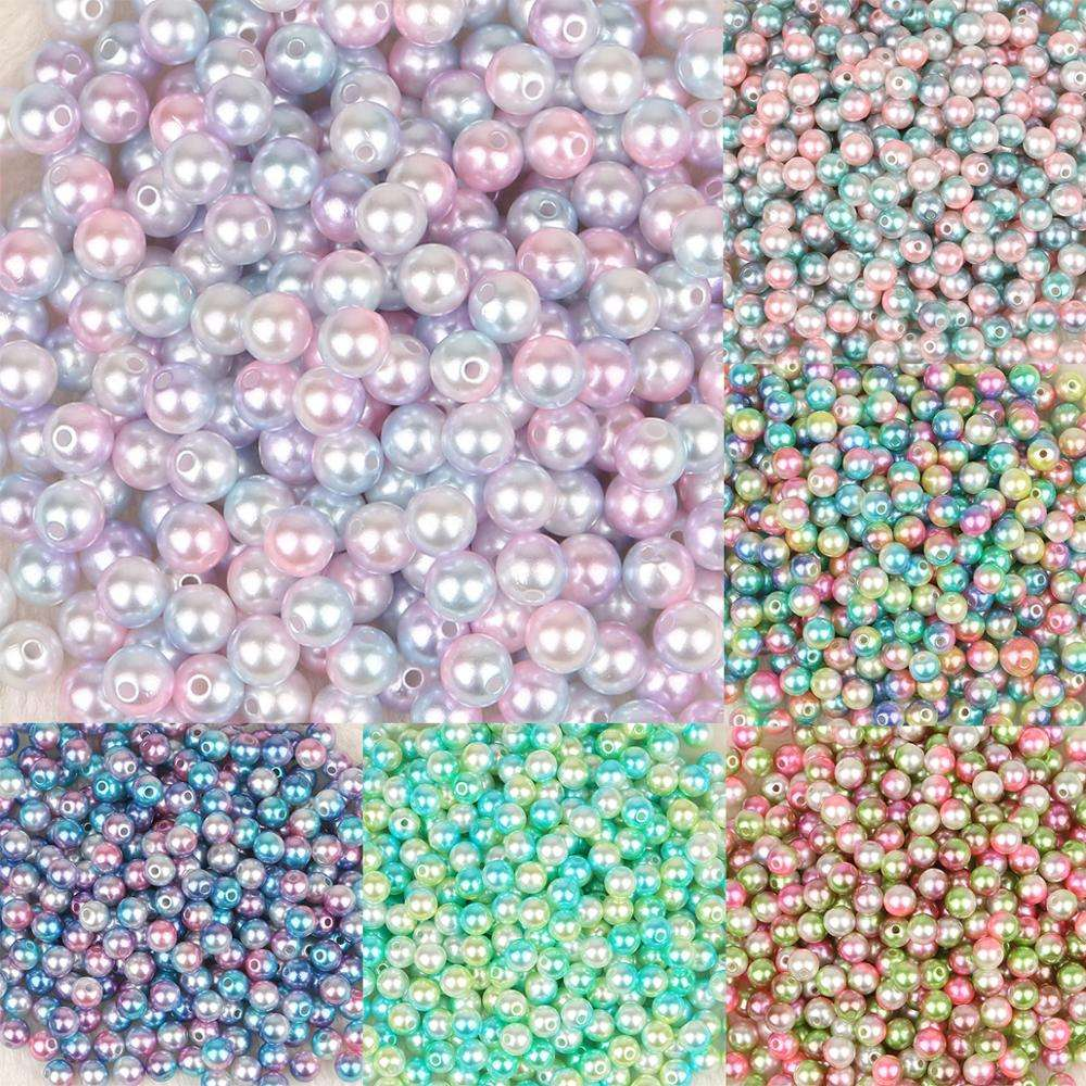 Wholesale 4/6/8/10mm Multi Colors Plastic ABS Loose Pearl Round Beads for DIY Jewelry