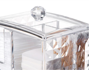 Wholesale Customized Diamond transparent desk cotton pad holder smart clear acrylic makeup organizer cosmetic storage box