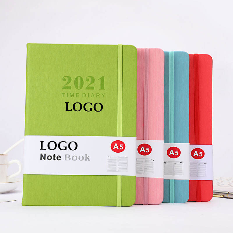 Fast Delivery Stock Free Custom Logo Printed A5 Pu Leather 2021 Daily Planner Notebook With Elastic Band