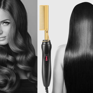 Private Label Afro Mini Hot Electric Comb Multi-functional Hair Comb Brush Straightener Curling Irons Hair Styling