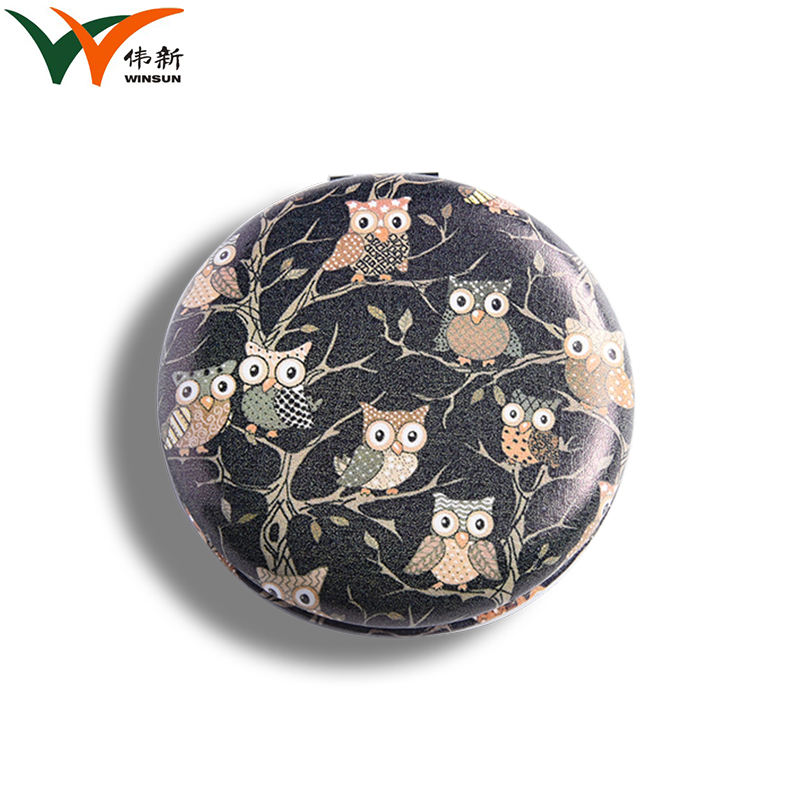 wholesale free design colorful printed pu metal frame make up mirror design mirror compact