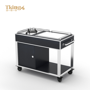 Fireproof board stainless steel 304 frame hotel dim sum food trolley for hotel restaurant