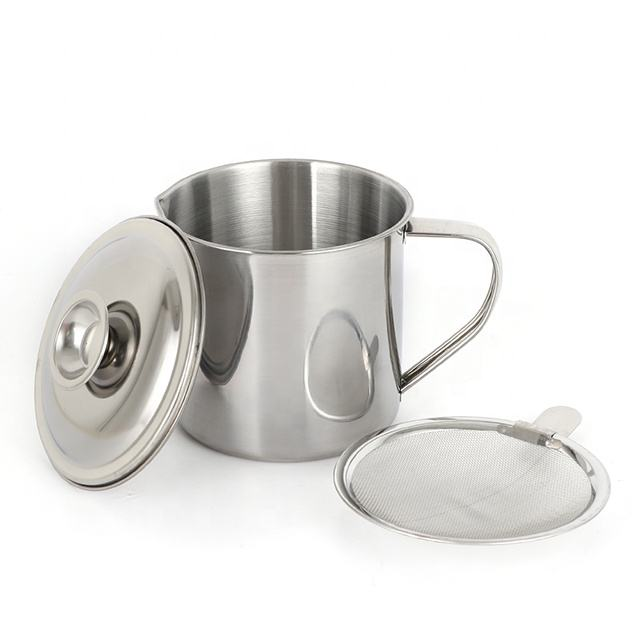 Stainless Steel Oil Pot/oil cup/ oil drain cup with Filtering Strainer grease keeper
