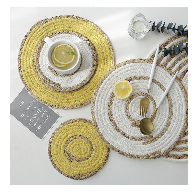 Promotion environmental protection creative straw woven cotton mixed woven table mat placemats