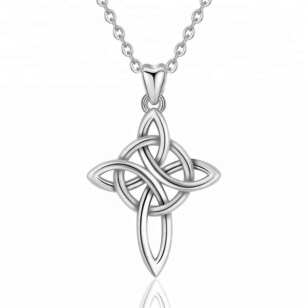 Venta de fábrica Popular celta de Plata de Ley 925 nudo colgante de Cruz de la vida eterna y amor regalos de navidad
