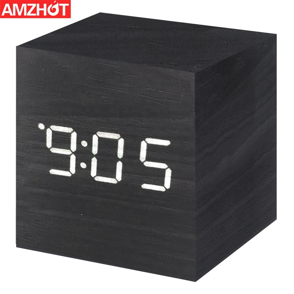 L03-0399 Mini Modern Cube Desk Alarm Clock LED Digital LED Wooden Alarm Clock