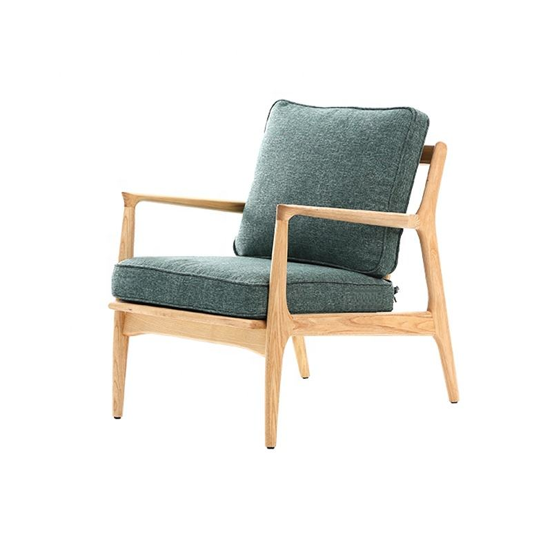 Mid Century Modern Armchair Natural Wood Color Frame Living Room Chair