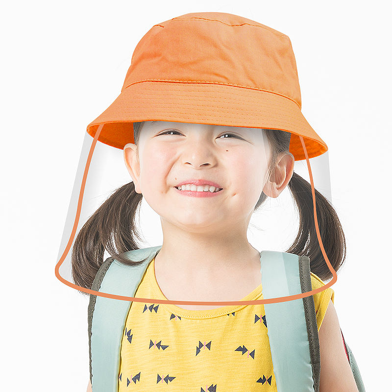 Manufacturer Colors 100% Cotton Children Protective Cap Fisherman hat kids Bucket cap shield with Removable clear TPU