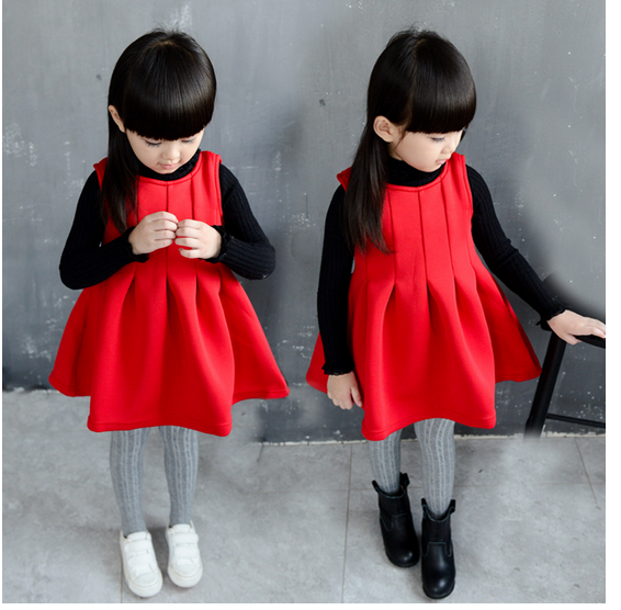 New Indian Sweet Latest Design Cotton Baby Birthday Red Dress
