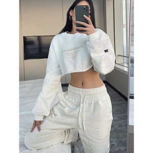 OEM custonm logo embroidered crop top hoodies for girls long sleeve streetwear crewneck cropped hoodie woman
