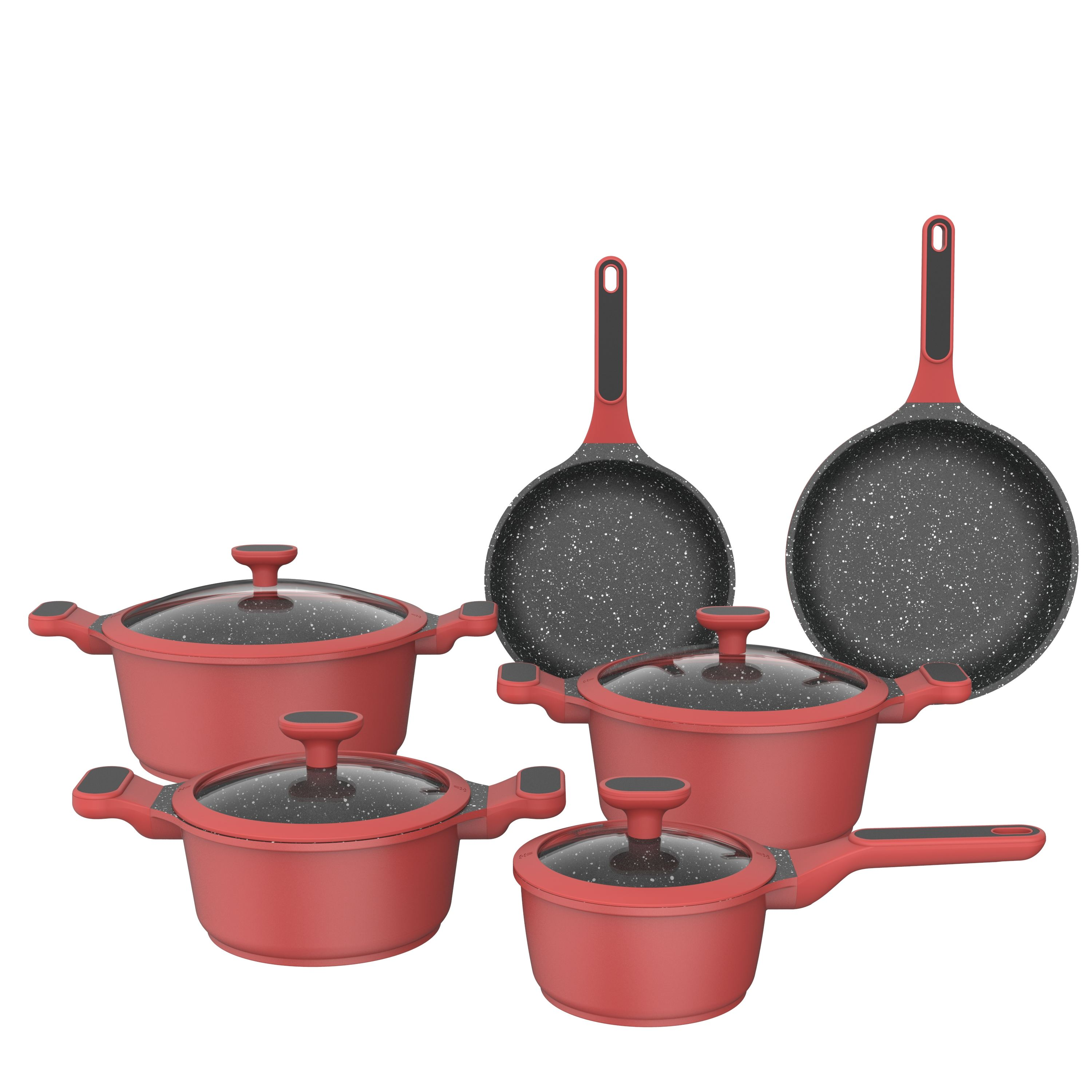 2021 New Aluminum Kitchen Ceramic 10pcs/set Multi Clad Stainless Steel Nonstick Kitchenware Piece Cookware Sets