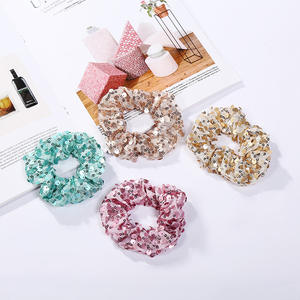 Solid Elastic Hair Band For Women Girls Ponytail Holder Hair Rope Headband Accessories Long Hair Sequin Scrunchie