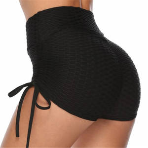 Jacquard High Waist Slim Fitness Sports Sexy Drawstring Skinny Shorts Stretch Booty Shorts