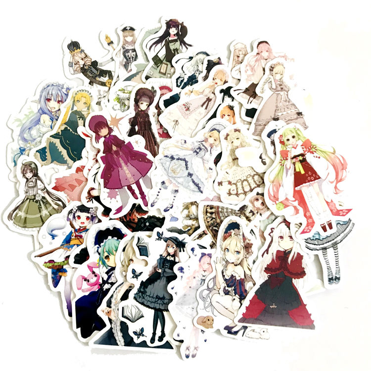 42 Stks/zak Japanse <span class=keywords><strong>Anime</strong></span> Lolita Stickers Pack Voor Laptop Helm Water Fles