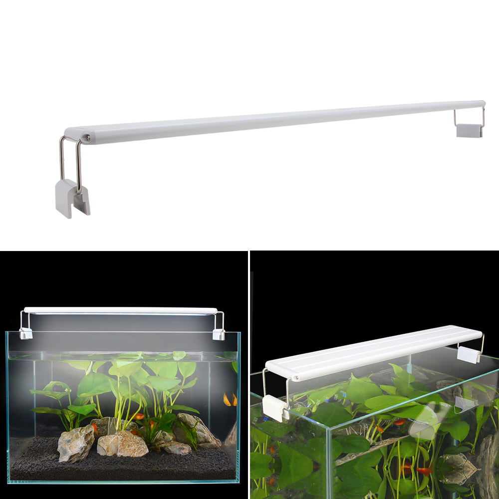 Slim LED Lighting Aquarium Fish Tank Light Bar ClipにLampとExtendable Bracket Blue & White LEDs