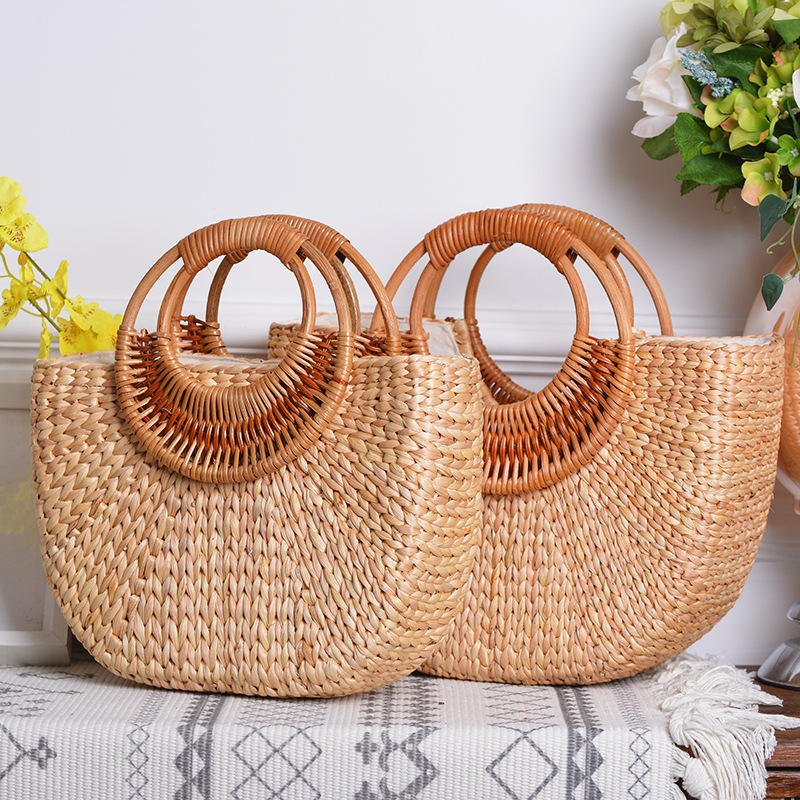 Fashion Hollow Vietnam Bali Vintage Rattan Straw Bags Women Travel Large Bucket Tote Women Beach Top Handle Handbag Ladies Bag