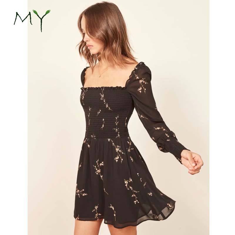 Overseas in stock fashion clothing black floral chiffon short dresses