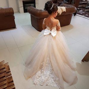 Elegant Ball Gown Flower Girls Dresses For Weddings Sheer Neck Long Sleeves Applique Lace Tulle Children Wedding Dresses