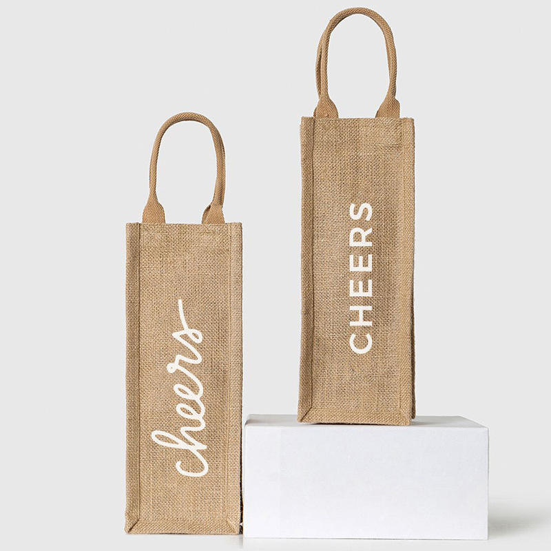Manufacturer customized jute single red wine tote bag can be printed with logo