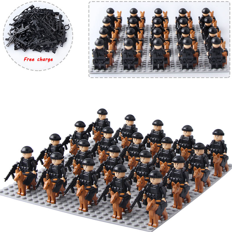 Plastic Mini Action Figure Building Blocks Police and Dog Toys for Kids Compatible Legos Brick