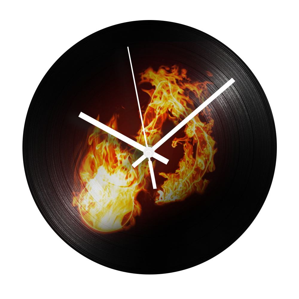 Vintage Wall Clock Recycled Fire and Flame Record Clock